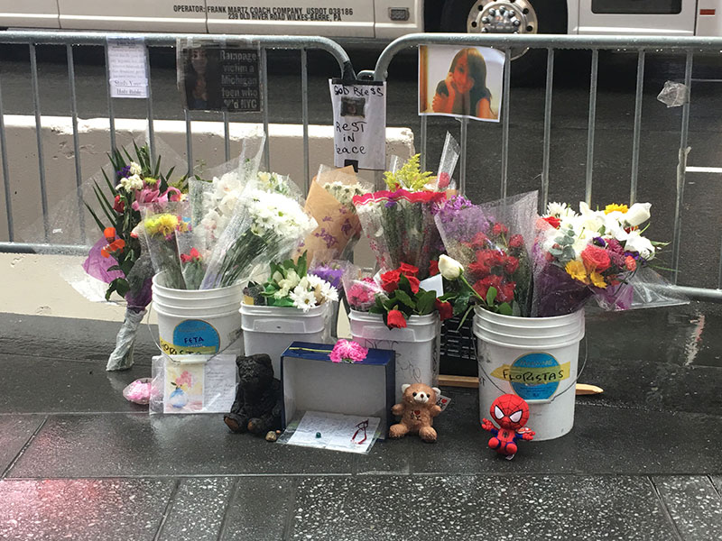 Memorial for Alyssa Elsman in Times Square