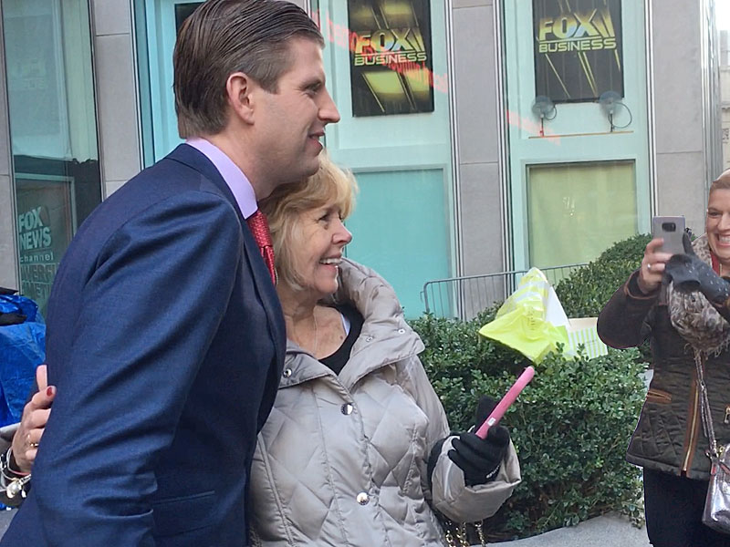 Eric Trump greeted by voters and fans on Election Day