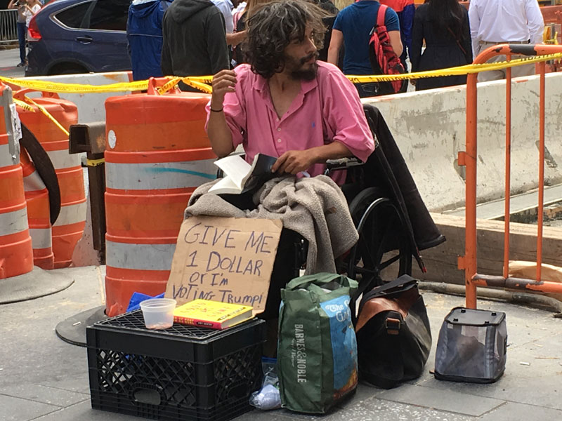 Homeless Politics - Give a dollar or voting for Trump