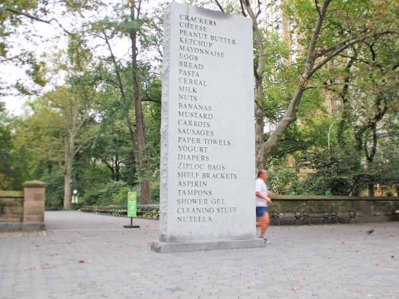 Giant grocery list in Central Park