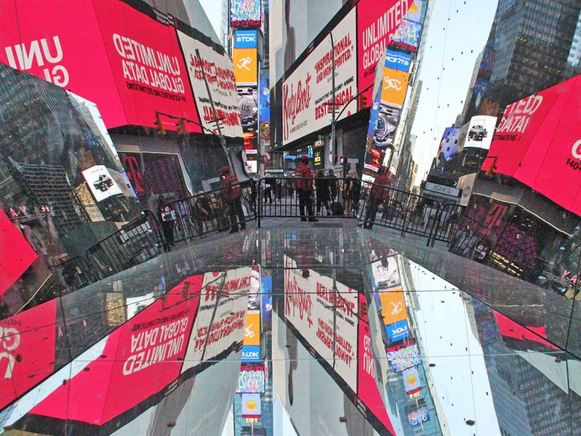 Mirrored sculpture allows visitors to experience Times Square upside down