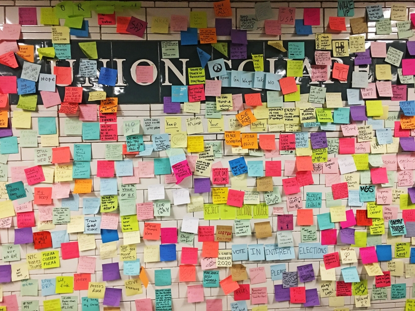 Post election Post-it notes subway therapy
