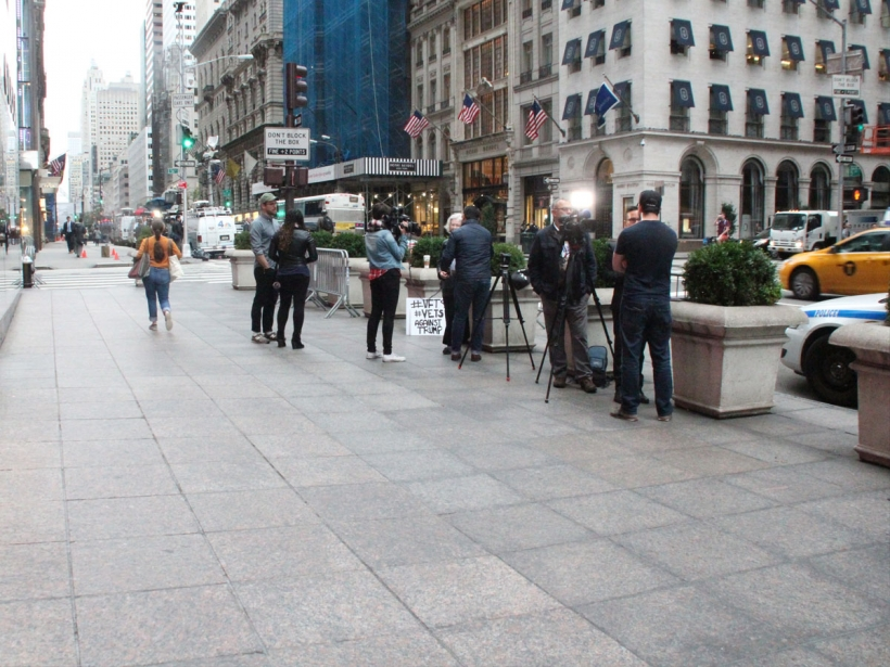 Over a dozen media outlets visit Trump Towers to cover rally with 3 protestors